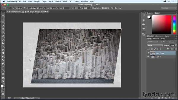 Scaling, skewing, and rotating layers with Free Transform: Photoshop CC Essential Training (2015)