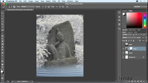 Painting in Layer Masks to blend images: Photoshop CC Essential Training (2015)