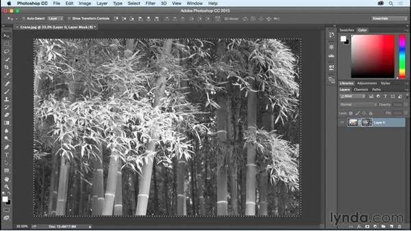 Creating a weathered look by pasting into a Layer Mask: Photoshop CC Essential Training (2015)