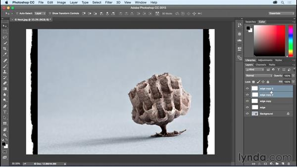 Using blend modes to add a rough cut, deckled edge: Photoshop CC Essential Training (2015)