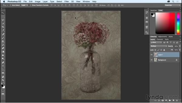 Adding a texture with blend modes: Photoshop CC Essential Training (2015)