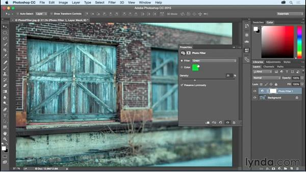 Changing mood using the Photo Filter: Photoshop CC Essential Training (2015)