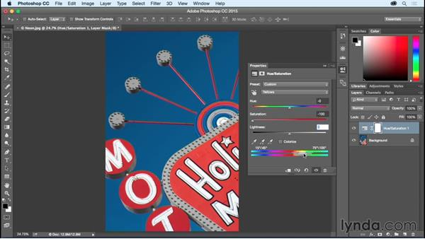 Shifting colors with Hue/Saturation: Photoshop CC Essential Training (2015)