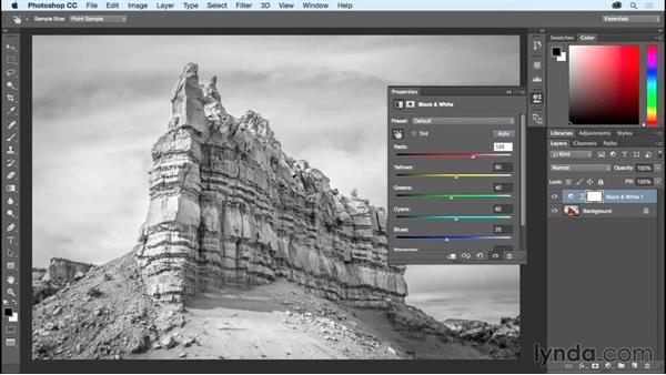 Creative black-and-white and color conversions: Photoshop CC Essential Training (2015)