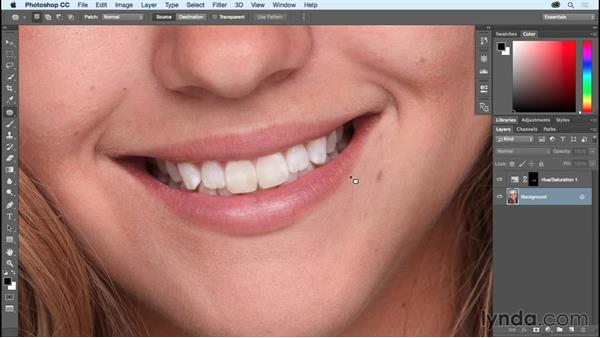 Making teeth bright and white: Photoshop CC Essential Training (2015)