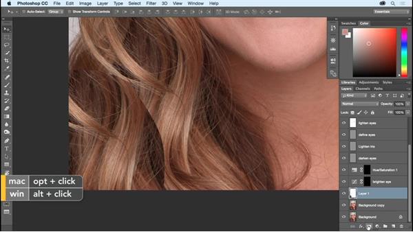 Taming flyaway hair: Photoshop CC Essential Training (2015)
