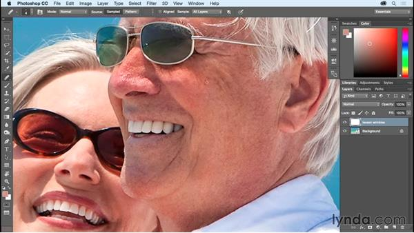 Deemphasizing wrinkles with the Healing Brush: Photoshop CC Essential Training (2015)