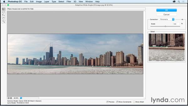 Straightening images using the Adaptive Wide Angle filter: Photoshop CC Essential Training (2015)