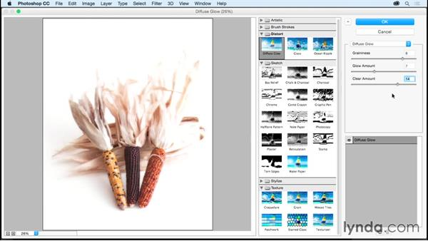 Creating a soft, diffuse glow with grain: Photoshop CC Essential Training (2015)