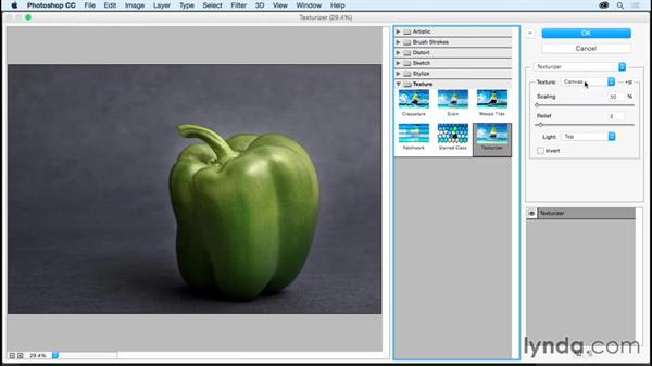 Giving an image more texture with the Texturizer: Photoshop CC Essential Training (2015)