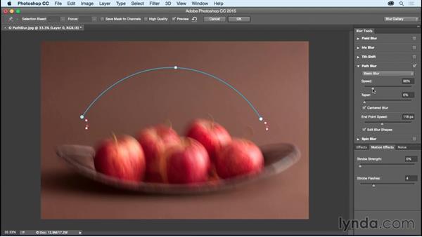 Creative blurring along a path: Photoshop CC Essential Training (2015)