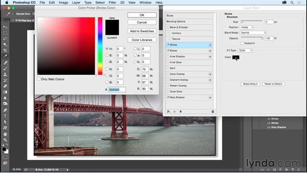 Adding a drop shadow using layer effects: Photoshop CC Essential Training (2015)