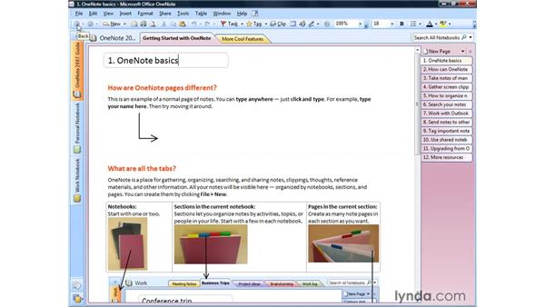 Launching OneNote and touring the interface: OneNote 2007 Essential Training