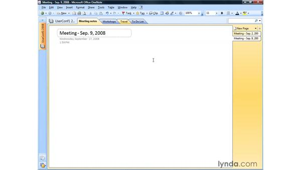 Creating a note on a page: OneNote 2007 Essential Training