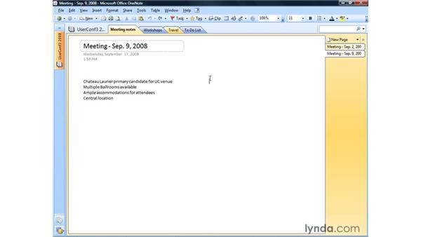Adding screen clippings: OneNote 2007 Essential Training