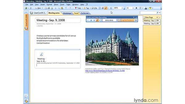 Adding audio and video: OneNote 2007 Essential Training