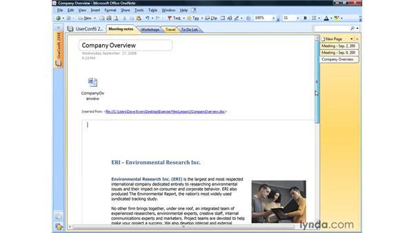 Adding files: OneNote 2007 Essential Training