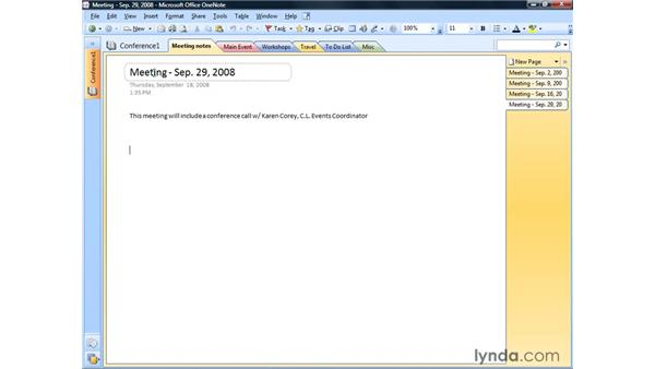 Adding Outlook meetings : OneNote 2007 Essential Training