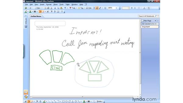 Modifying written notes and drawings: OneNote 2007 Essential Training