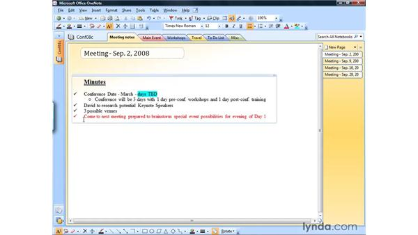 Using bullets and numbering: OneNote 2007 Essential Training