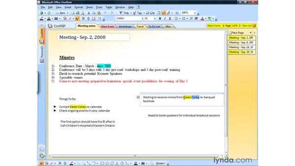 Searching a notebook: OneNote 2007 Essential Training