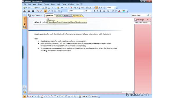 Changing section colors: OneNote 2007 Essential Training