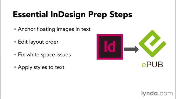Learning the basic prep steps for most InDesign files: InDesign CC 2015: EPUB Fundamentals