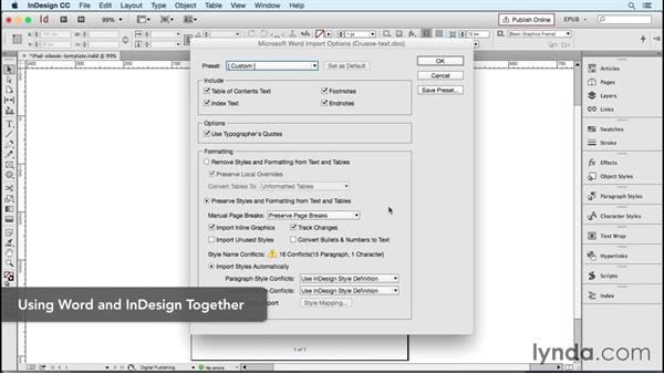 Starting with only a Word document: InDesign CC 2015: EPUB Fundamentals