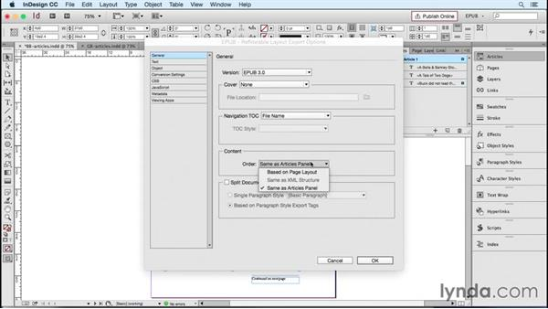 Managing the sequence of content: Articles panel: InDesign CC 2015: EPUB Fundamentals