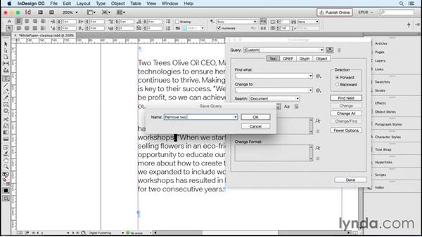 Cleaning up text with the Find/Change dialog box: InDesign CC 2015: EPUB Fundamentals