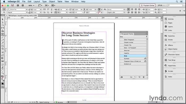 Converting local formatting to styles: InDesign CC 2015: EPUB Fundamentals