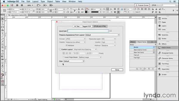 Using object styles for EPUB attributes: InDesign CC 2015: EPUB Fundamentals