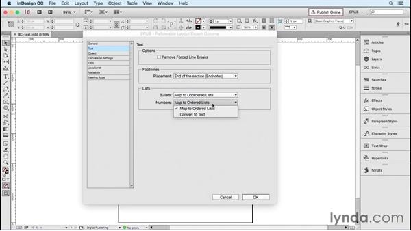 Choosing export options for text and CSS: InDesign CC 2015: EPUB Fundamentals
