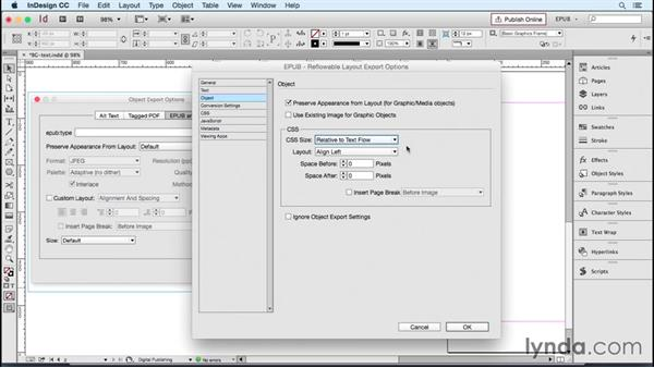 Reviewing object and image-conversion options: InDesign CC 2015: EPUB Fundamentals