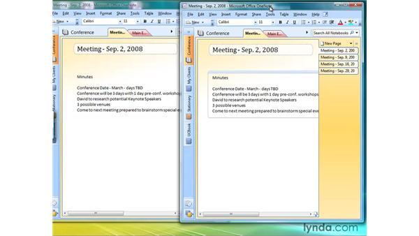 Creating new windows: OneNote 2007 Essential Training