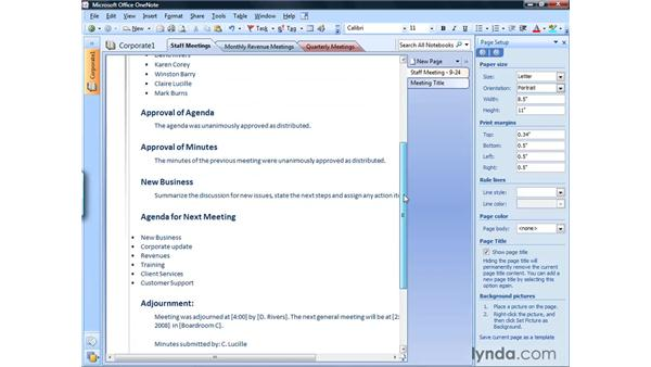 Setting paper size: OneNote 2007 Essential Training