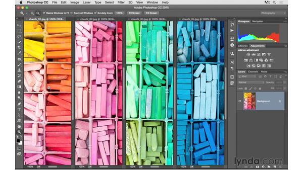 Arranging and viewing multiple documents: Photoshop CC 2015 for Photographers: Fundamentals