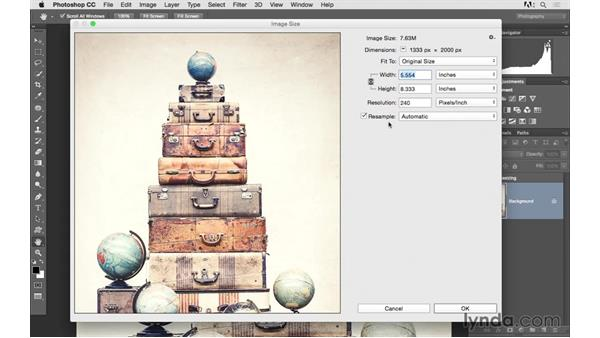 Resizing an image to a smaller size: Photoshop CC 2015 for Photographers: Fundamentals