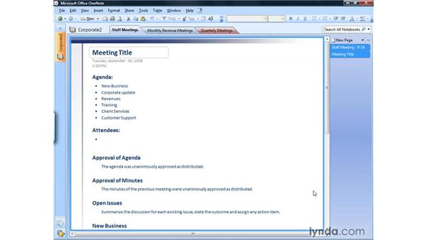 Changing margins and rule lines: OneNote 2007 Essential Training