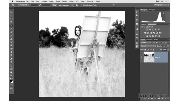 Solution: Level and resize a photo to make a 5x5 print: Photoshop CC 2015 for Photographers: Fundamentals