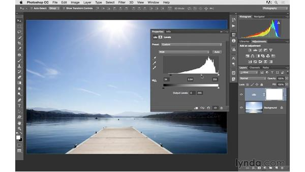 Fixing overexposure with levels: Photoshop CC 2015 for Photographers: Fundamentals