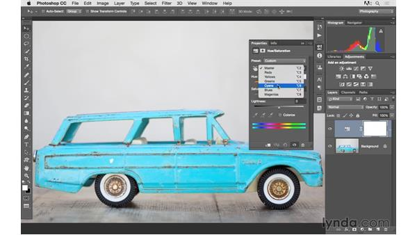 Changing color with hue and saturation: Photoshop CC 2015 for Photographers: Fundamentals