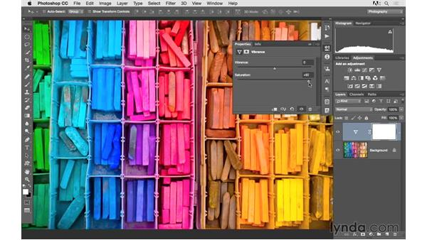 Increasing saturation and color variety with Vibrance: Photoshop CC 2015 for Photographers: Fundamentals