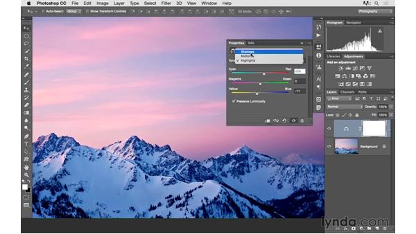 Using color balance to create vivid color: Photoshop CC 2015 for Photographers: Fundamentals