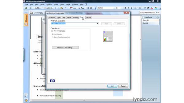 Modifying print options: OneNote 2007 Essential Training