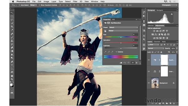 Combining color balance and hue saturation: Photoshop CC 2015 for Photographers: Fundamentals