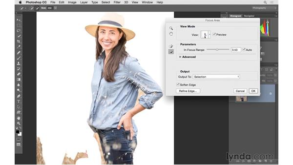 Using Focus Area to select the area to sharpen: Photoshop CC 2015 for Photographers: Fundamentals