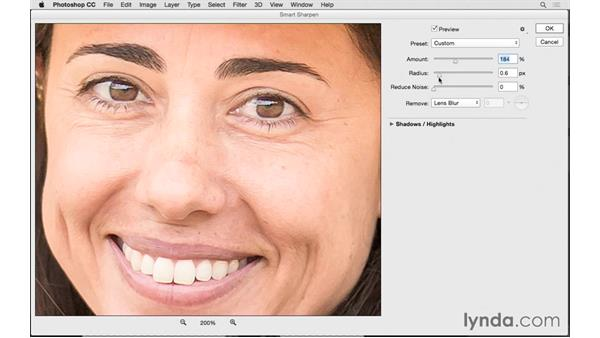 Selective sharpen with Smart Sharpen: Photoshop CC 2015 for Photographers: Fundamentals