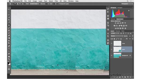 Working with the Patch tool and Content-Aware Move: Photoshop CC 2015 for Photographers: Fundamentals