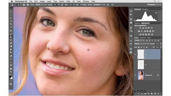 Reducing wrinkles and shadows under the eyes: Photoshop CC 2015 for Photographers: Fundamentals